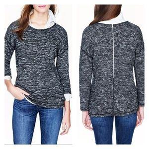 J CREW Jospe Tunic Black Heathered Sweatshirt M